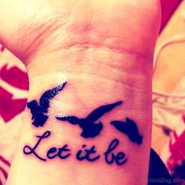 Let It Be Flying Birds Cute Tattoo On Wrist