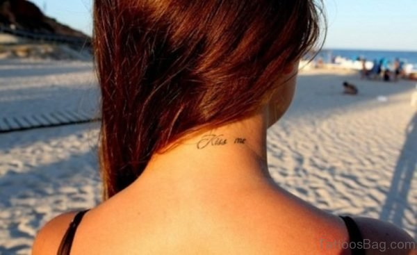 Lettering Kiss Tattoo On Neck