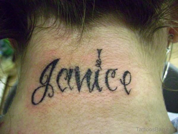 Lettering Name Tattoo On Neck