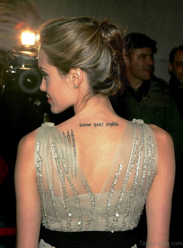 Letters Tattoo On Neck Back
