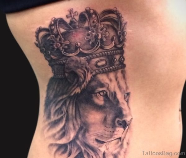 Lion And Crown Tattoo On Rib