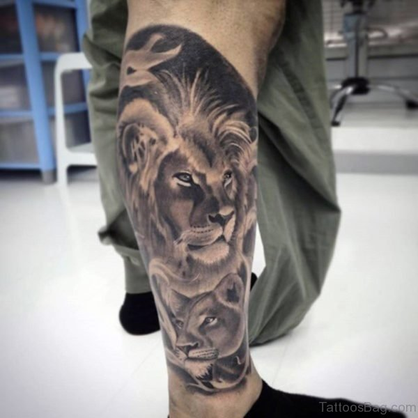 Lion And Cub Tattoo