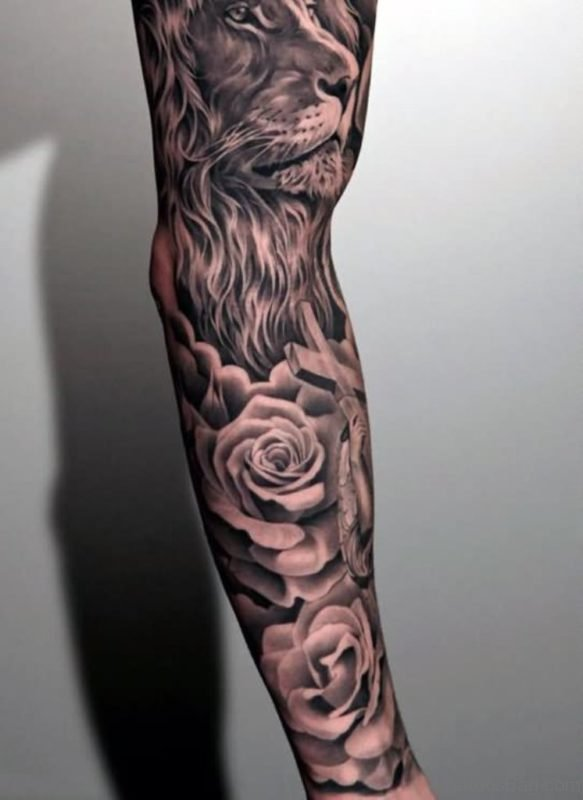 Lion And Rose Tattoo