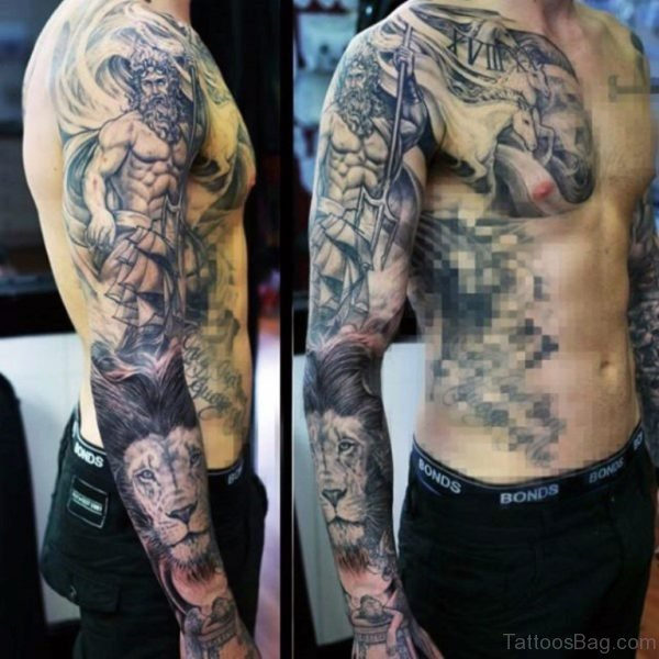 Lion And Warrior Tattoo On Full Sleeve