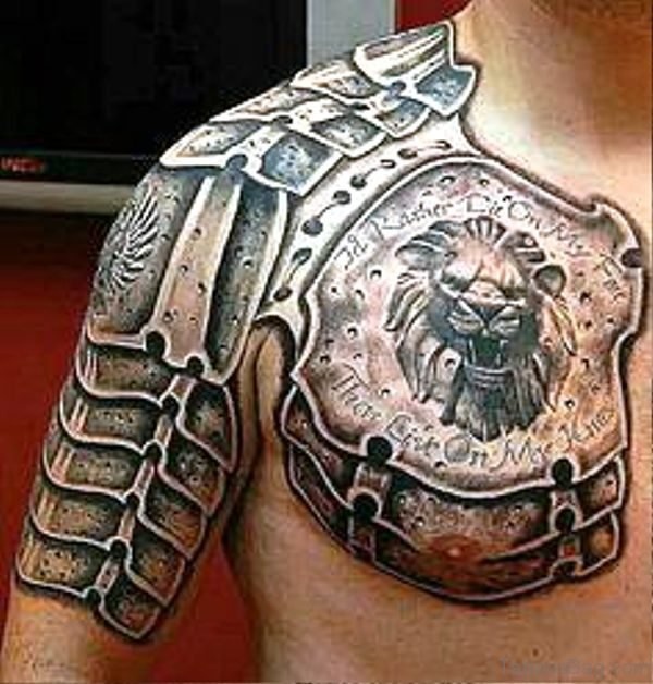 Lion Armour Tattoo On Chest