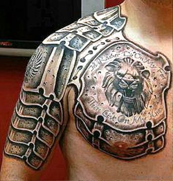 36 stunning armour tattoos on chest. Black Bedroom Furniture Sets. Home Design Ideas