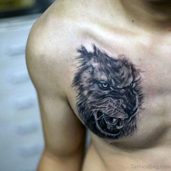 Lion Face Tattoo For Men