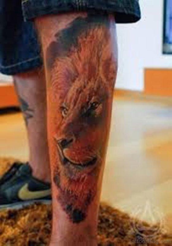 Lion Face Tattoo On Leg