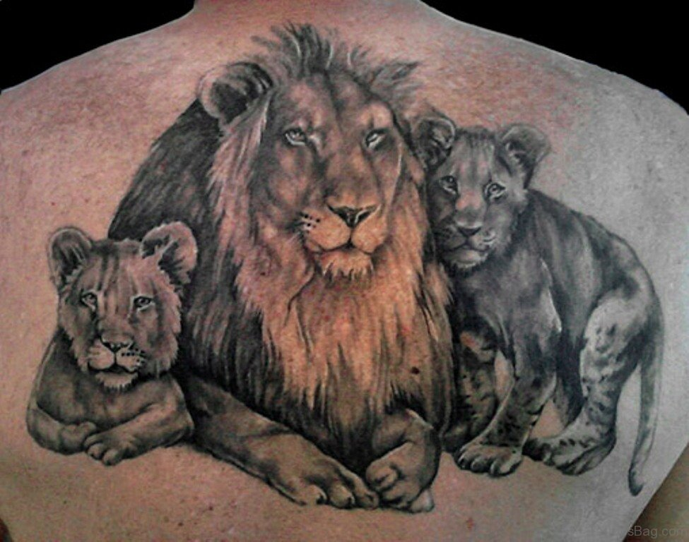 19 cute family tattoos for back for Lion and cub tattoo