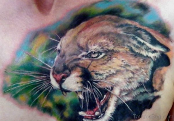 Lion Head Tattoo On Chest