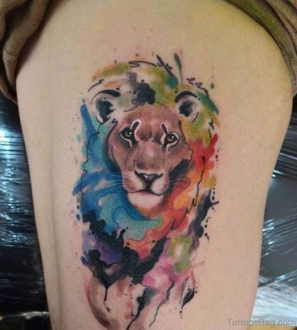 Lion Head Tattoo On Thigh