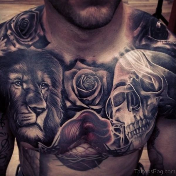 Lion Rose And Skull Tattoo