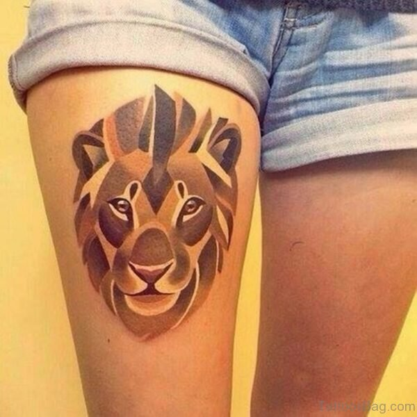 Lion Tattoo For Women on Thigh