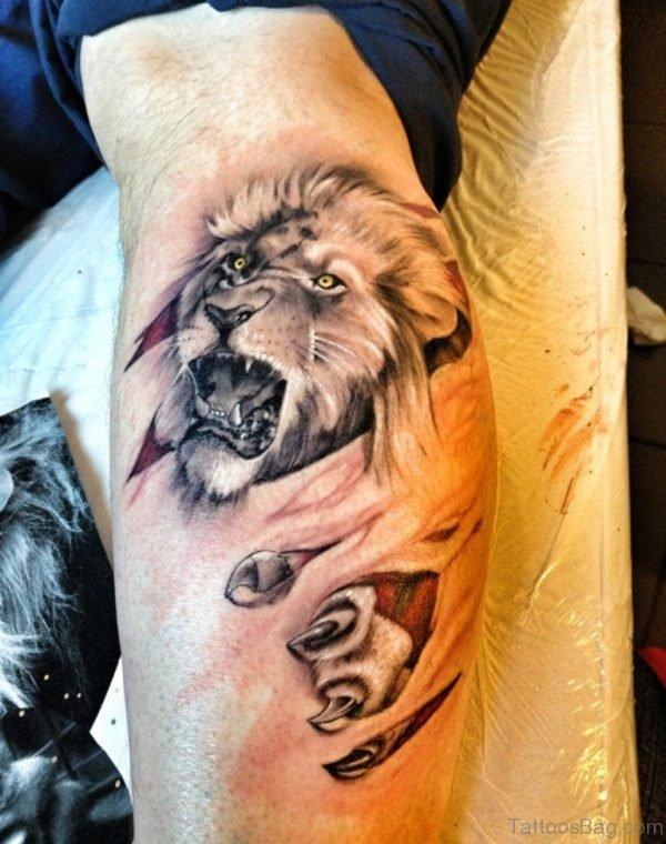 Lion Tattoo On Leg