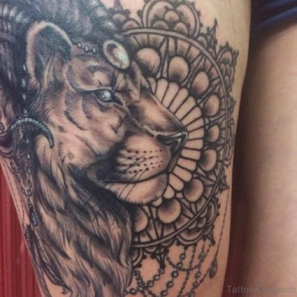 Lion Tattoo On Thigh