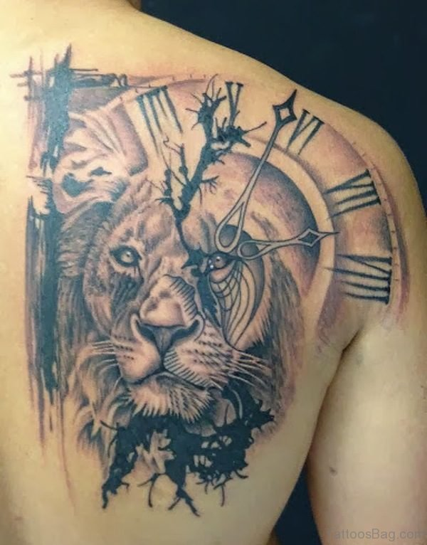Lion With Clock Shoulder Tattoo