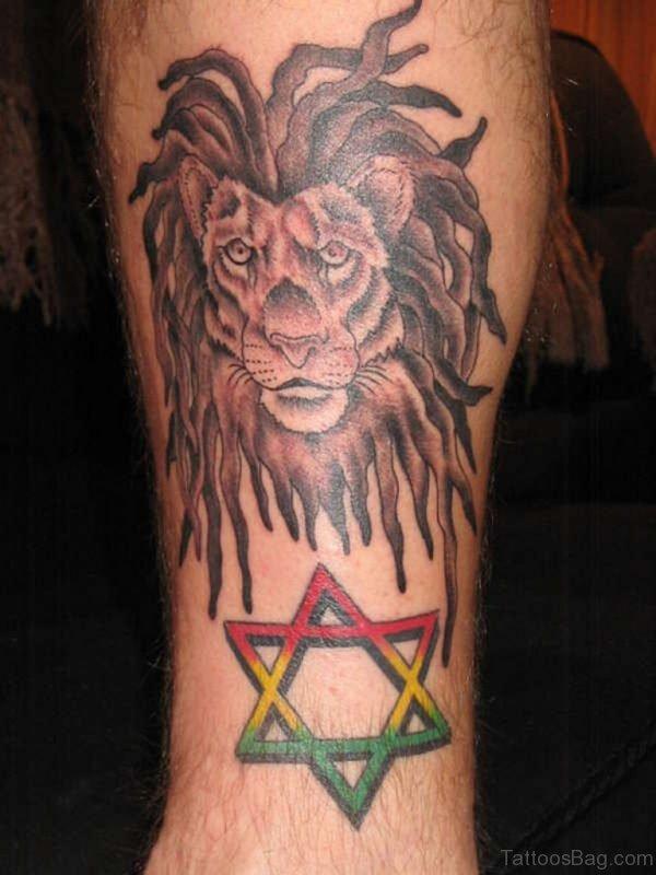 Lion and Star Leg Tattoo Design For Men
