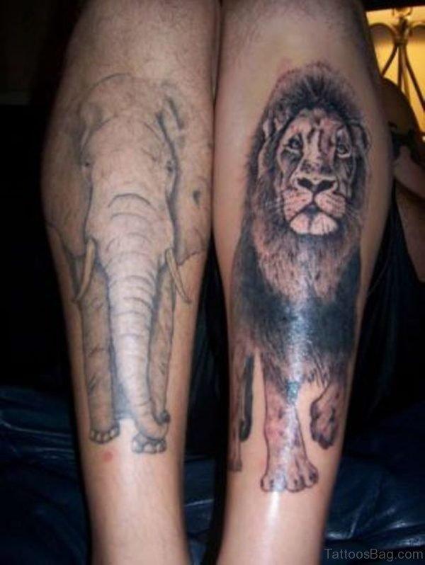 Lion n Elephant Tattoo On Leg