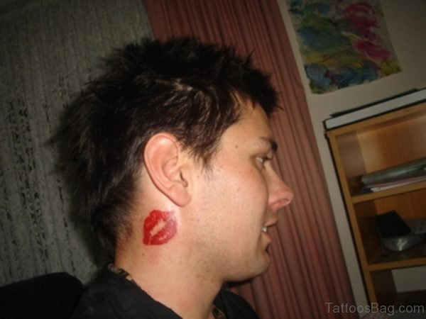 Lip Kiss Tattoo On Neck