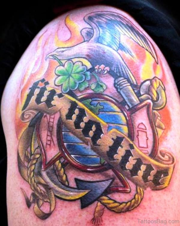 Literacy Eagle Shoulder Tattoo Design