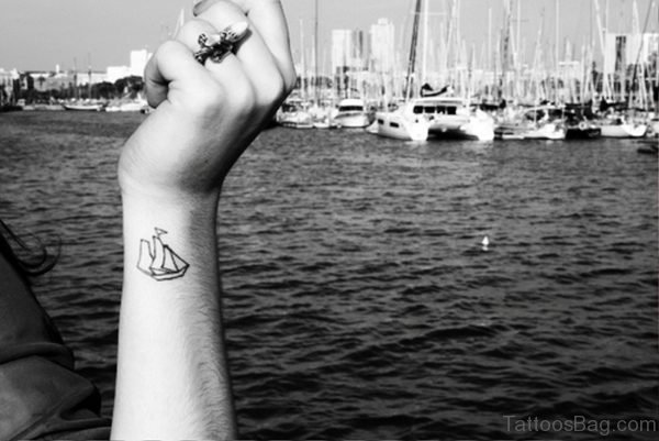 Little Boat Wrist Tattoo