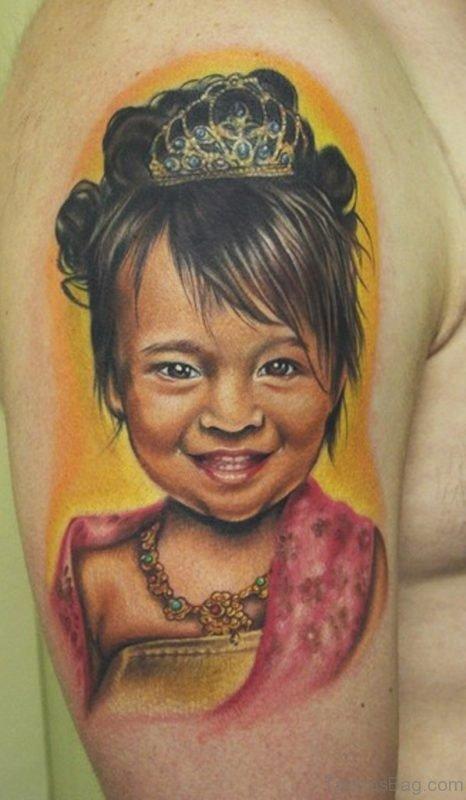 Little Girl Portrait Tattoo