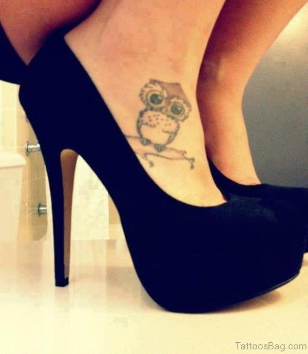 Little Owl Tattoo On Right Foot