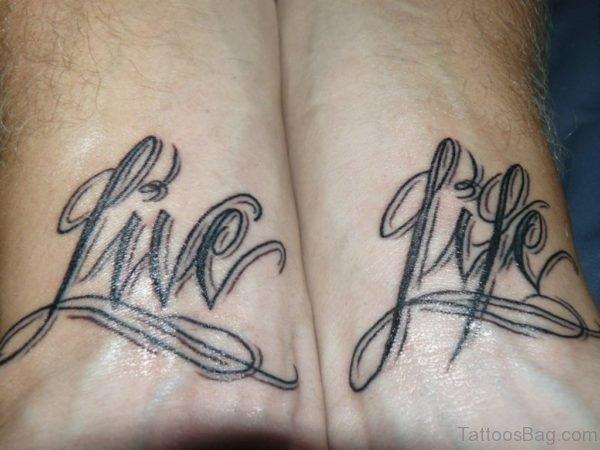 Live Life Ambigram Tattoo On Wrist