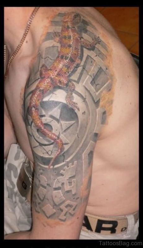 Lizard Tattoo On Left Shoulder
