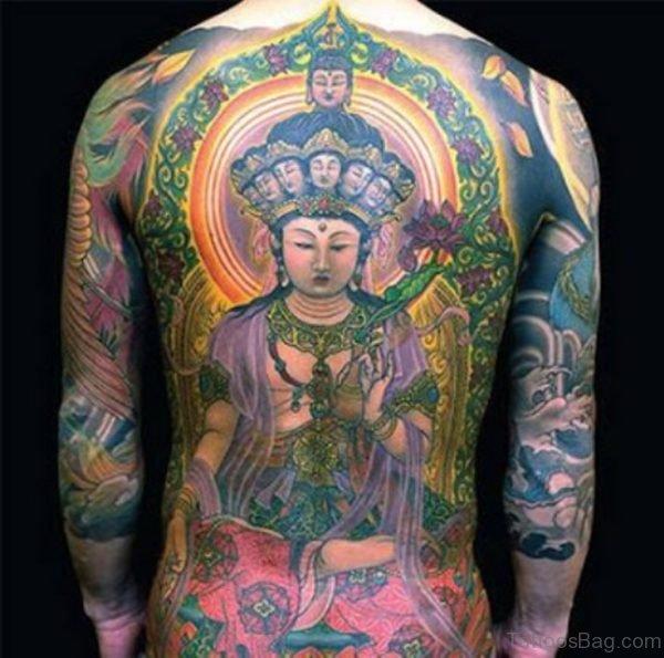Lord Buddha Tattoo On Full Back