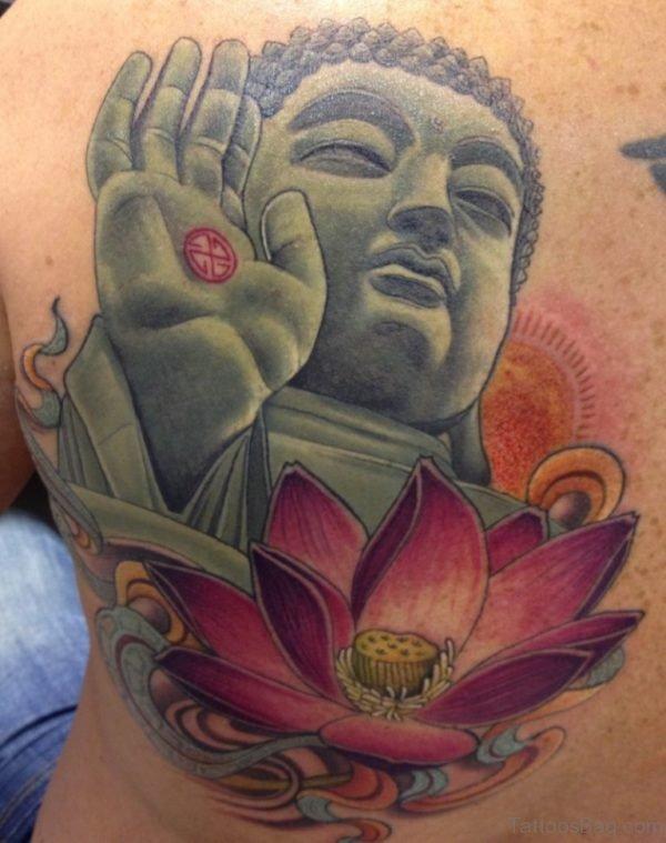 Lotus And Buddha Tattoo On Full Back