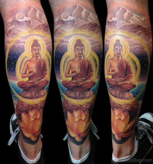Lotus And Buddha Tattoo On Leg