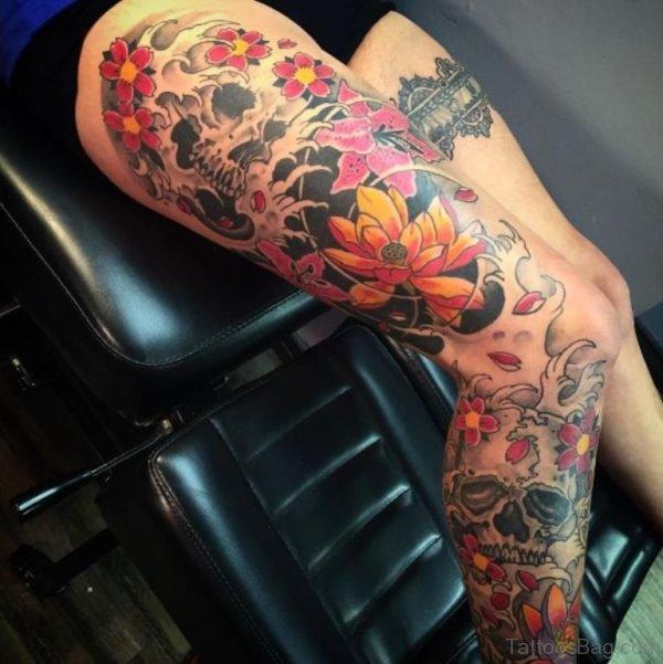 Lotus And Dragon Tattoo
