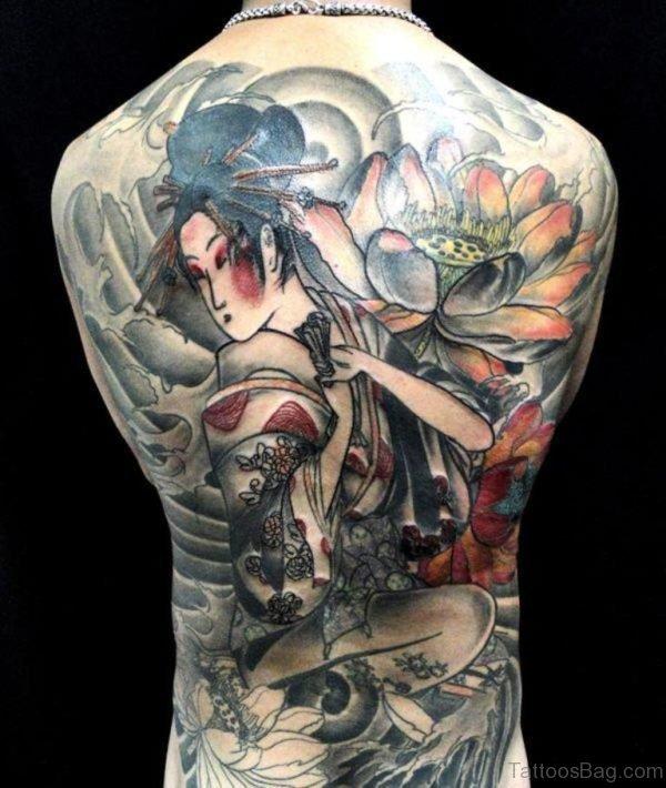Lotus And Geisha Tattoo