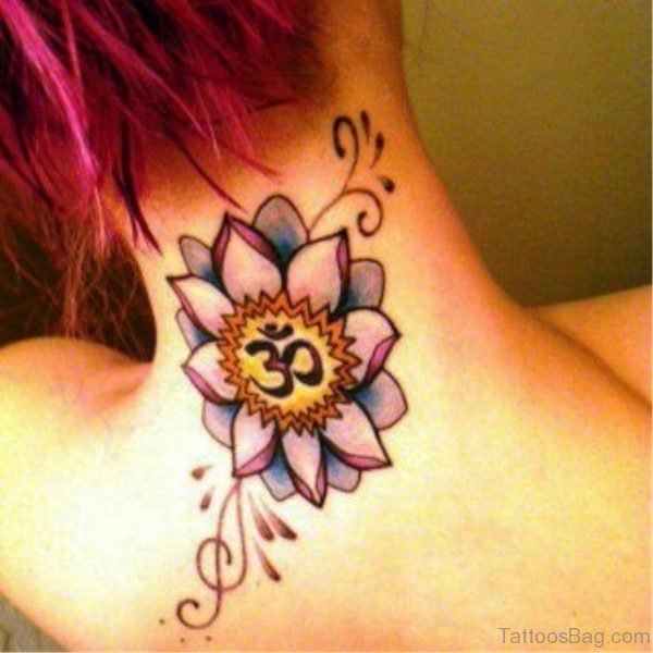 Lotus And Om Tattoo On Back Neck