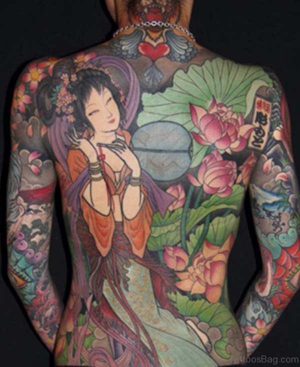 Lotus Flower And Geisha Tattoo