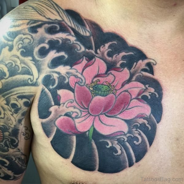 Lotus Flower Chest Tattoo For Men