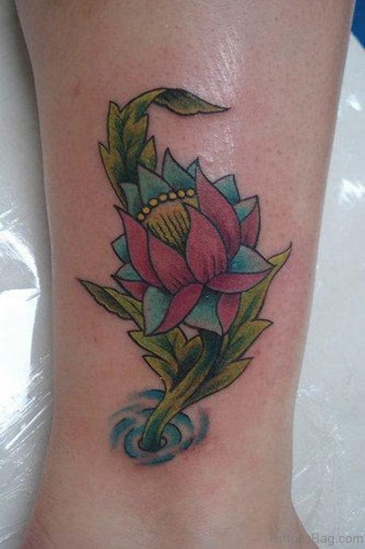 Lotus Flower Leg Tattoo Design