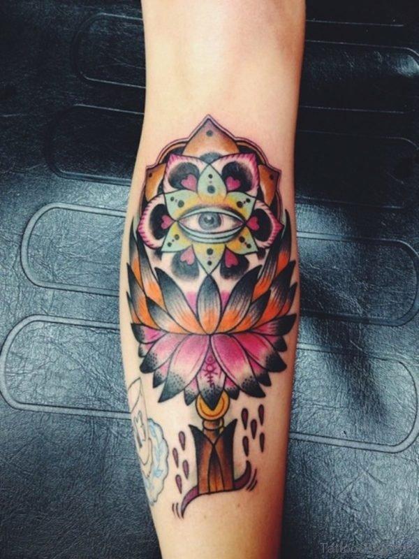Lotus Flower Tattoo Design on Leg