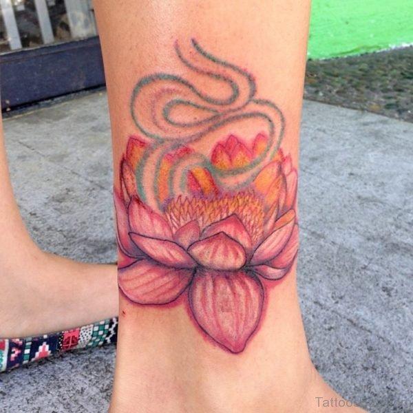 Lotus Flower Tattoo On Ankle