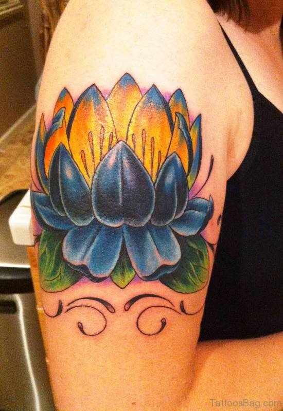 Lotus Flower Tattoo On Right Shoulder