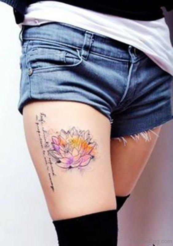 Lotus Flower Tattoo On Thigh