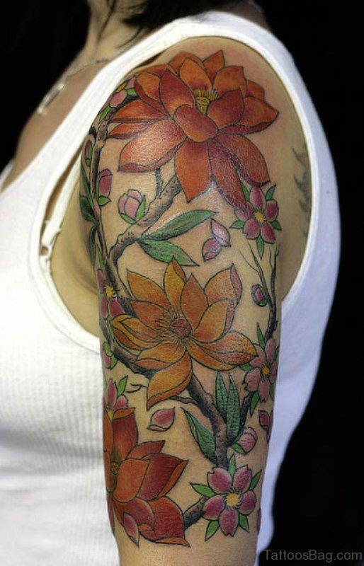 Lotus Flower Shoulder Half Sleeves Tattoo
