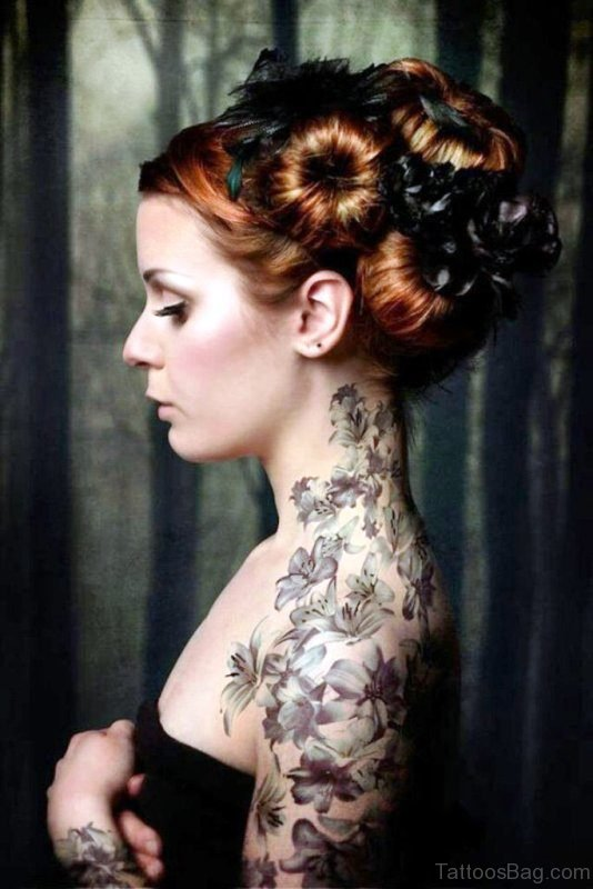 Lotus Flowers Neck Tattoo