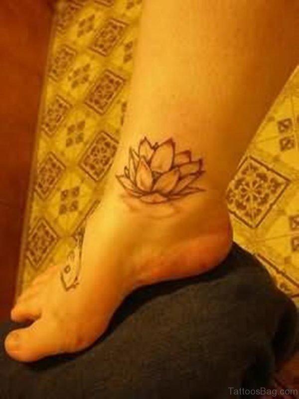 Lotus Tattoo Design On Ankle