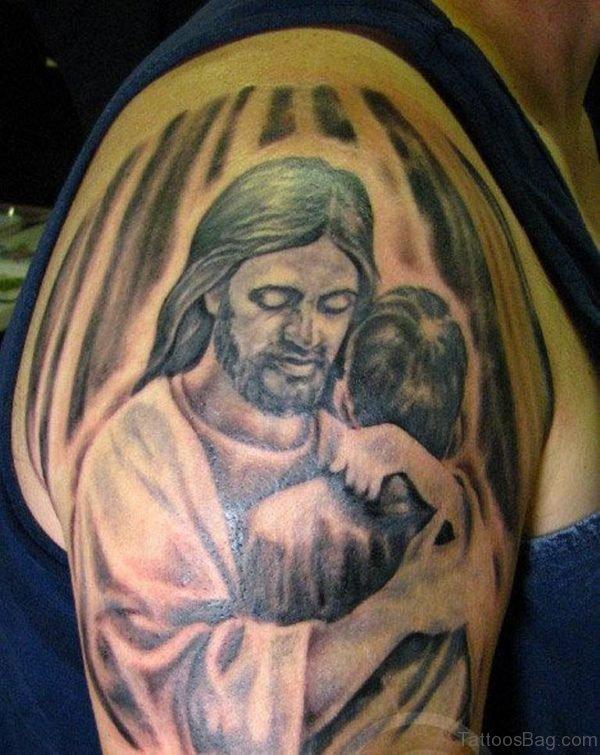 Lovable Jesus Tattoo On Shoulder