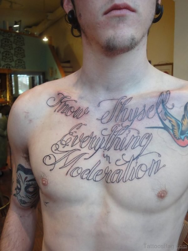 Lovable Wording Tattoo On Chest