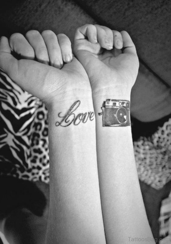 Love Camera Wrist Tattoo