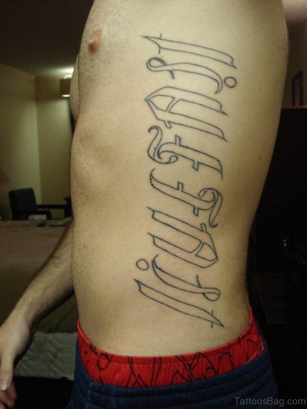 Love Fast Ambigram Tattoo On Side Rib