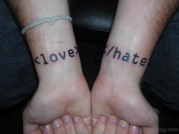 Love Hate Wording Tattoo